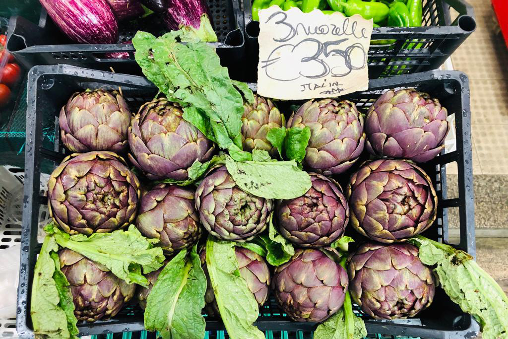 artichokes at a market in Florence