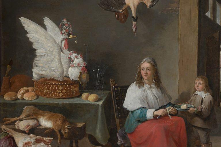 Kitchen with swan pie, David Teniers, Mauritshuis