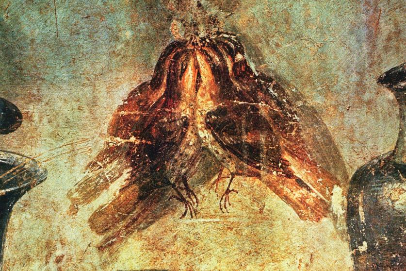 Fresco with birds from House of Julia Felix Pompeii