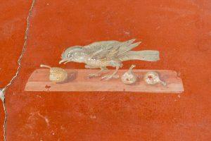 Fresco singing bird with pears from Villa di Oplonti