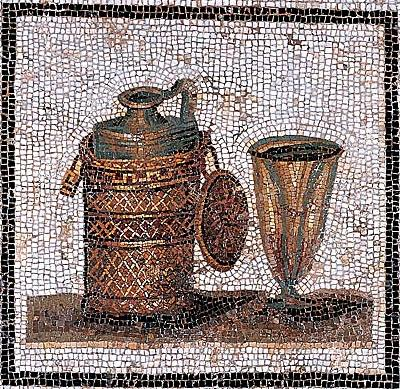 Roman mosaic with carafe and cup
